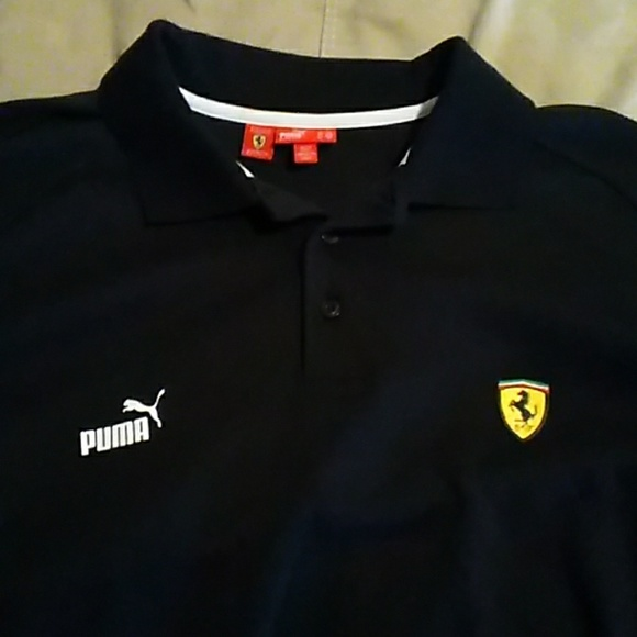 868411dc09 Puma Ferrari Mens Polo - 3 button down from colar